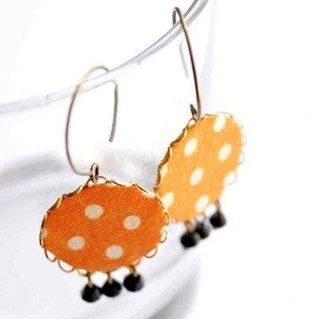 Narancs pöttyök - textil ékszer - fülbevaló