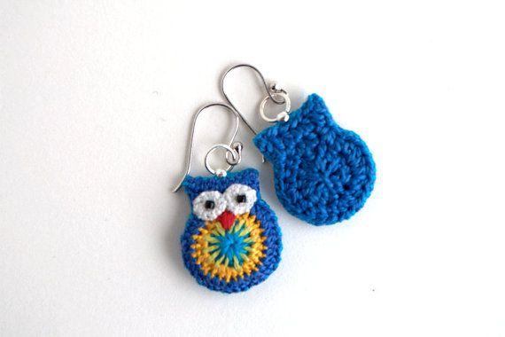 Owl earrings crochet owl earrings free shipping by MikiJensen,
