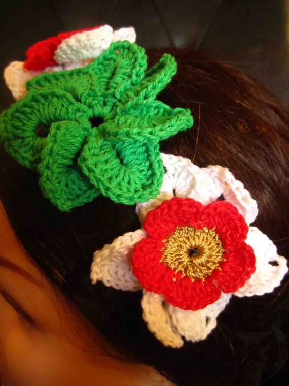 Headband with red green and white crochet flowers by WhiteBea, $12.00