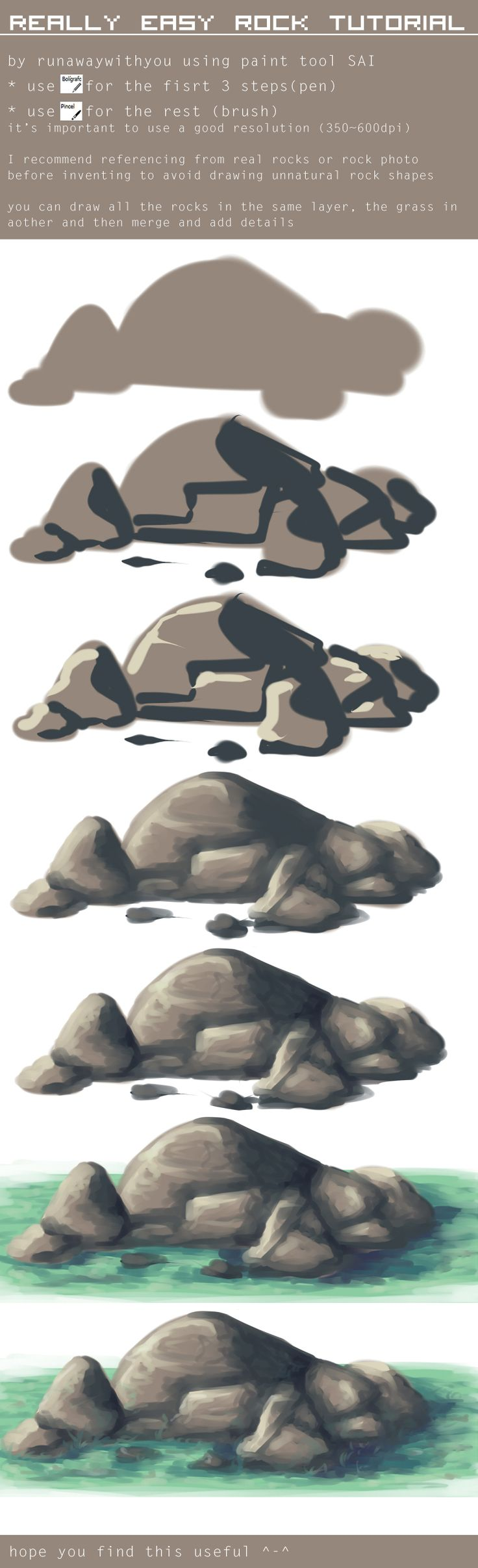 easy tutorial - drawing rocks by runawaywithyou.deviantart.com on @deviantART