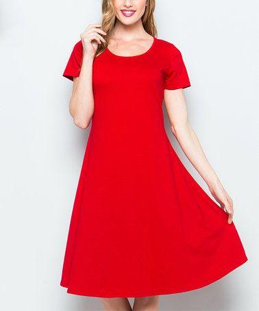 Love this Red A-Line Dress on #zulily! #zulilyfinds