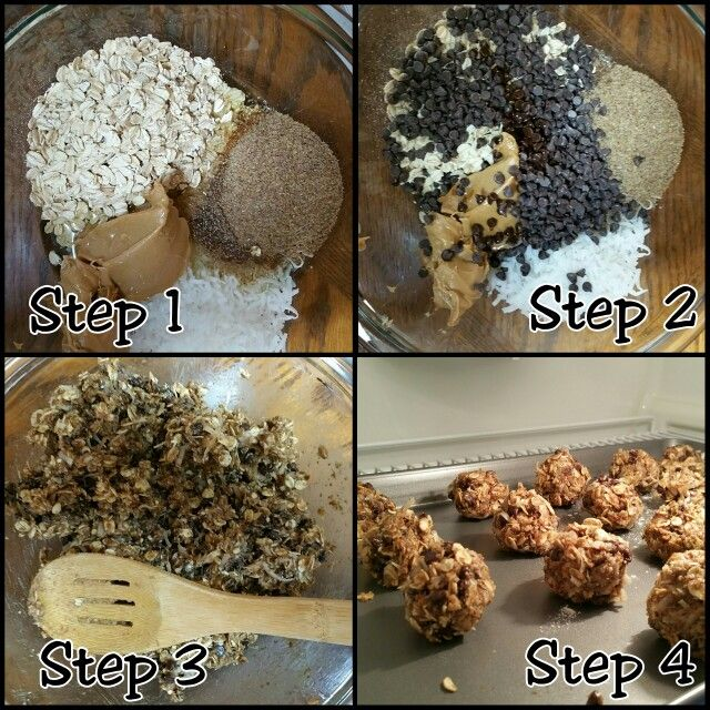 Chocolate Chip Granola Balls: Old Fashion Oats, Flaxs, Coconut, Mini Chocolatechips, Agave, and a bit of V.anilla