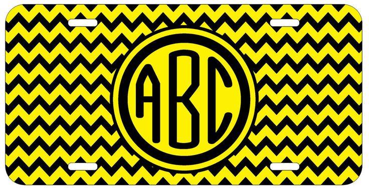 Personalized Monogrammed Chevron Yellow Black License Plate Custom Car Auto L043