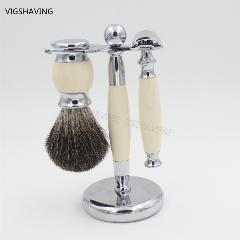 [ 35% OFF ] Faux Ivry Handle Black Pure Badger Hair And Safety Razor Luxury Badger Men Shaving Set