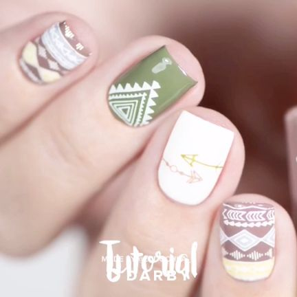 Ethnic Print Nail Tutorial with Different Types of Stamping #darbysmart #beauty …