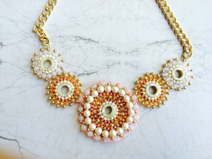 Wedding style.  Handmade necklace Champagne, gold and pearl beads.