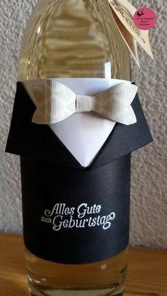 Gute Idee um eine Flasche als Geschenk zu verpacken!