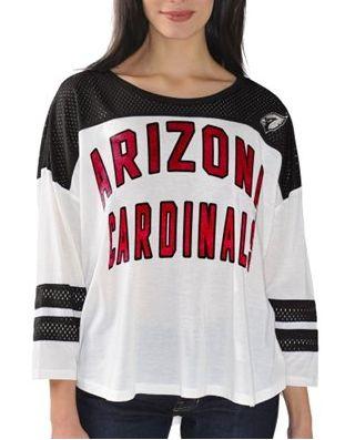 Top Women's White Arizona Cardinals Hail Mary 34 Sleeve T Shirt