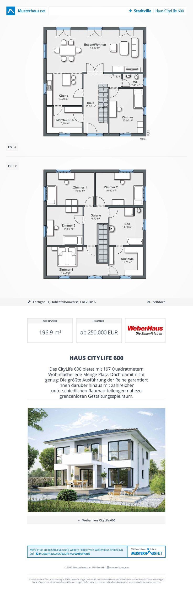 Haus CityLife 600 U2022 Ausbauhaus Von WeberHaus U2022 Energieeffizientes  Fertighaus Mit Offener Küche, Optionalem Erkeranbau