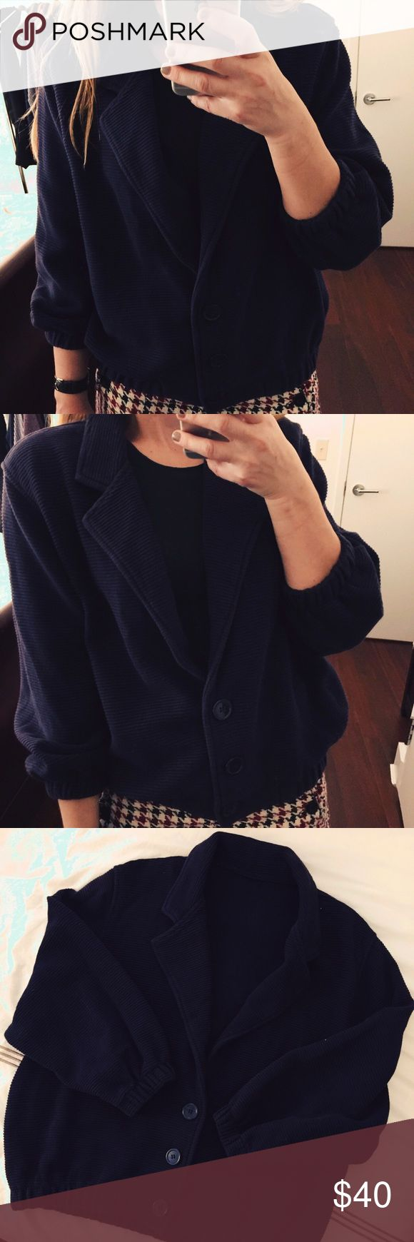 Vintage American Apparel Top Vintage American Apparel cardigan jacket/blazer in navy blue. This top has 3/4 length sleeves and 3 buttons. So so cute and fashionable! In like new condition! American Apparel Jackets & Coats Blazers