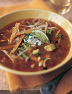 my absolute fave soup: Ina Garten's mexican chicken soup/tortilla soup!
