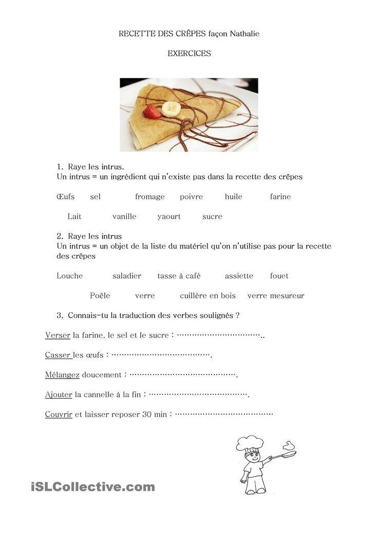 Image result for french les crepes worksheets pdf