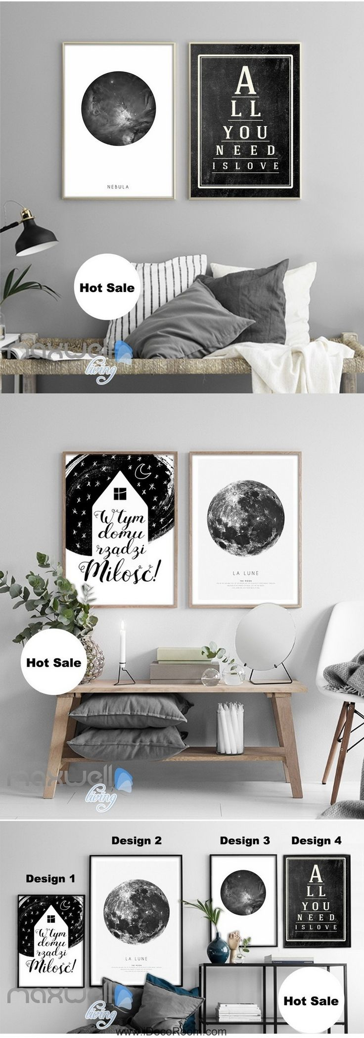 Earth Planet All You Need is Love Quote Canvas Prints Wall Art Decals Unframed IDCCV-BO-000026