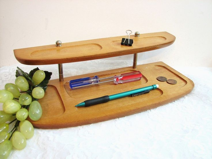 Mid-Century Maple Wood Dresser Valet with Tiered Shelf and Brass Accents ... Desk Organizer, Catch-All, Charging Station ... Blonde Wood by GRITSGirlz on Etsy https://www.etsy.com/listing/230234315/mid-century-maple-wood-dresser-valet