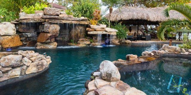 Natural Rock Waterfall Pool Siesta Key Spa Grotto Tiki Hut Pool Waterfall Rock Waterfall Grotto Pool
