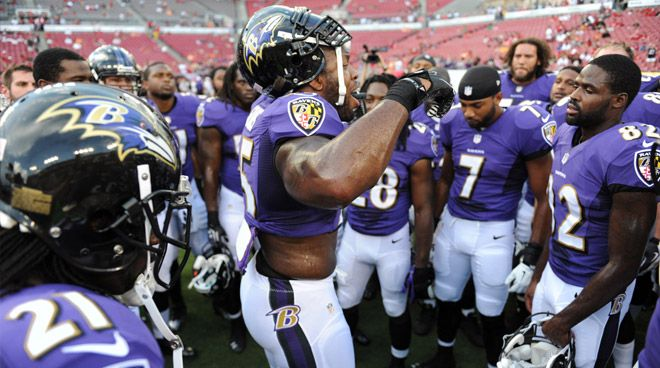 7213735d8 Terrell Suggs Takes Over Pre-Game Speech Duty - After 17 years of Ray Lewis  firing up the team from the huddle