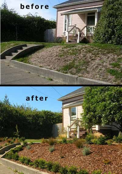 Sloped Front Yard Landscaping Photos Before And The Beginning
