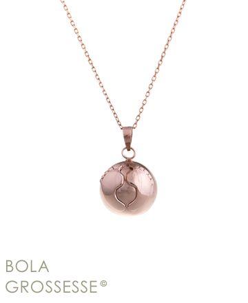 Collier bulan bola de grossesse or rose