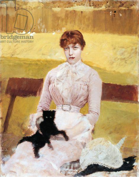 Lady with Black Kitten (Signora con gattino nero), by Giuseppe De Nittis, 1882-1883, 19th Century, oil on canvas, 90 x 71 cm
