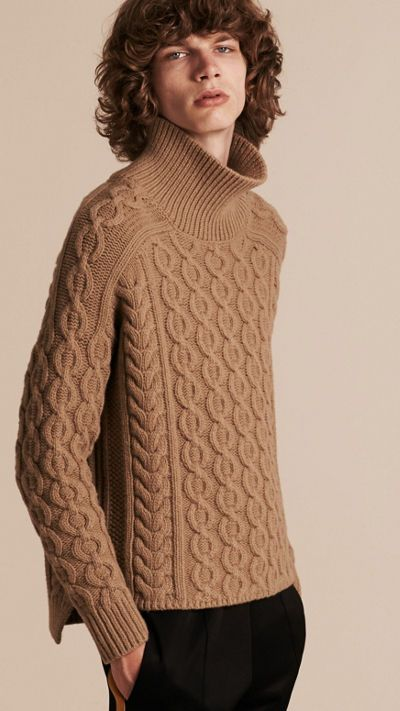 Camel Wool Cashmere Cable Knit Jumper 6