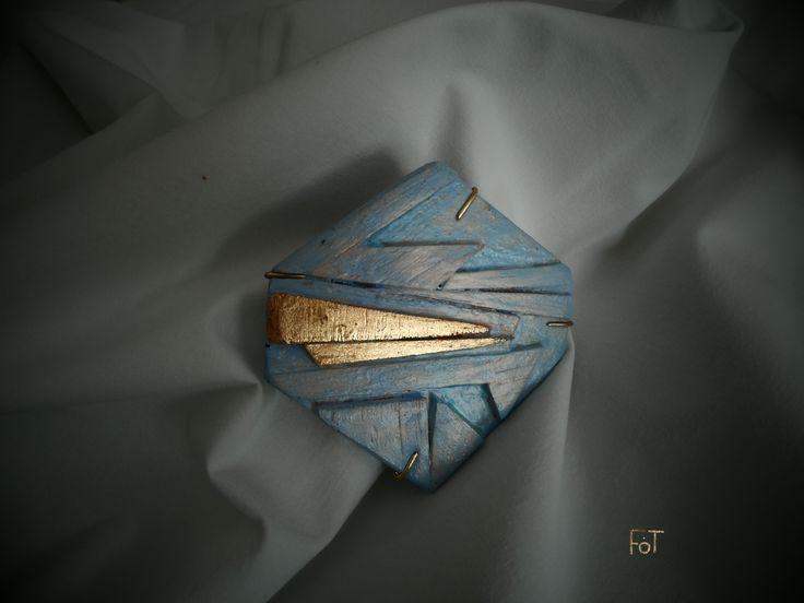 brooch, balsa wood