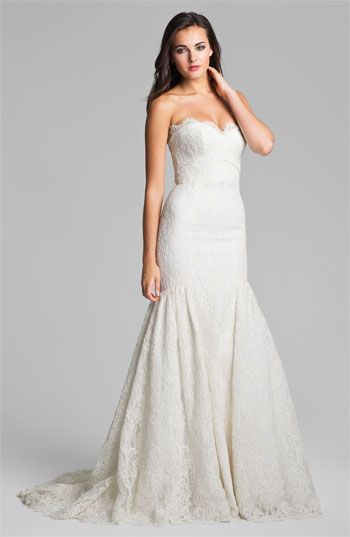 Theia Strapless Embroidered Lace Trumpet Gown #wedding