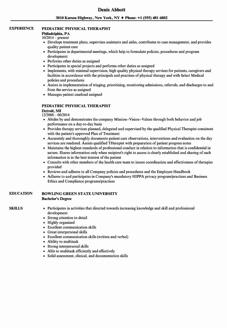 23 Physical therapist Resume Examples in 2020 Pediatric