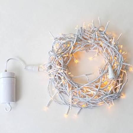 Warm White 200 LED Twisted Cable Connectable Battery String Lights