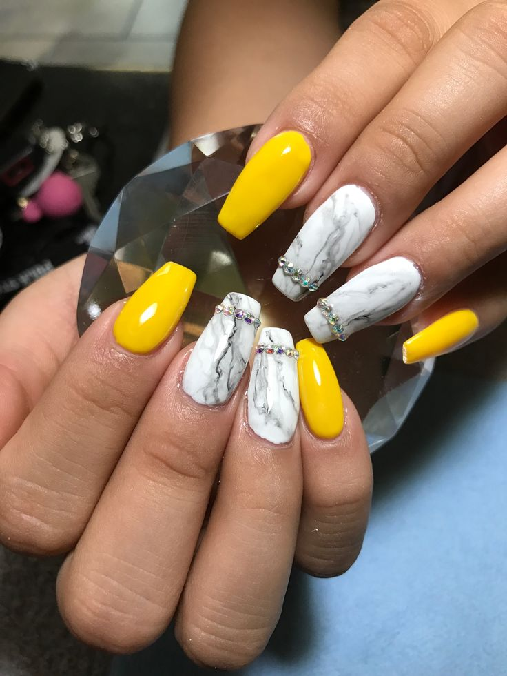 Yellow And Marble Nails Yellow Nails Design Marble