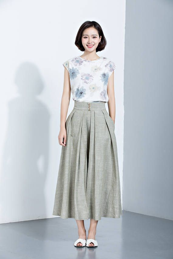 Linen SkirtPleated SkirtMidi Length SkirtLoose SkirtSummer