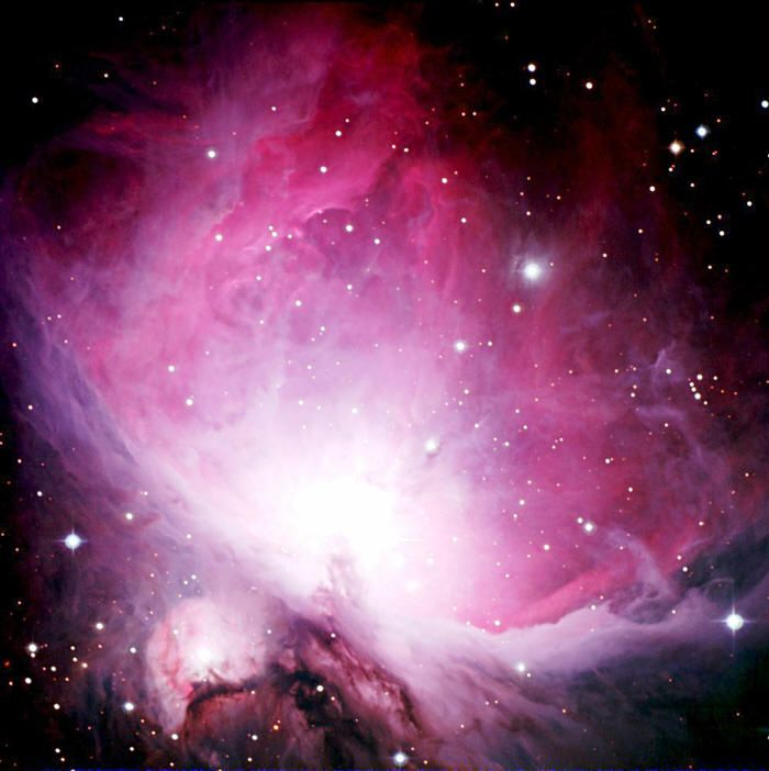 The Orion Nebula (M42) in pink   (credit: NASA Hubble space telescope)