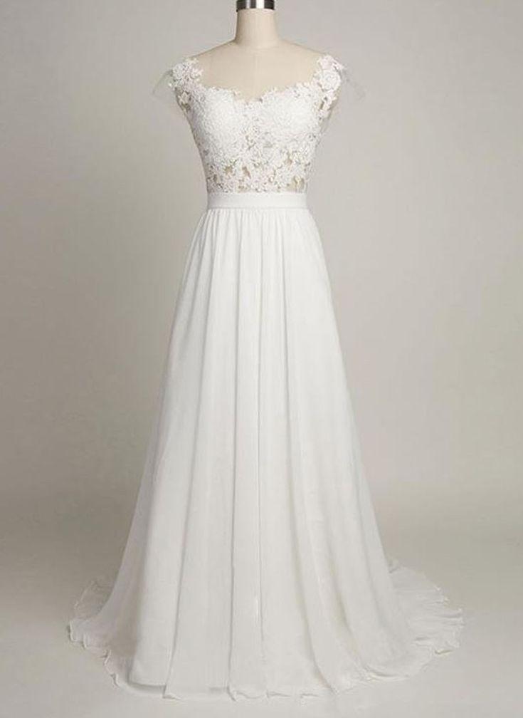 Chiffon Wedding Dress With Lace,A-line Wedding Dresses,Cap Sleeves Bridal Dress,Sweetheart Beach Wedding Dresses,Sweep Train Backless Wedding Dress