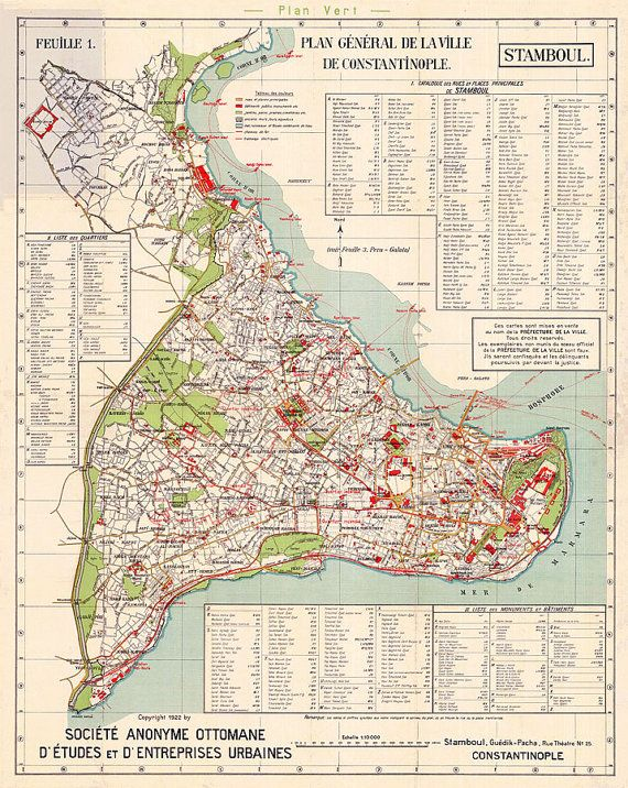 Map of Istanbul 1922 Old Istanbul map in 4 sizes up by RobertsMaps