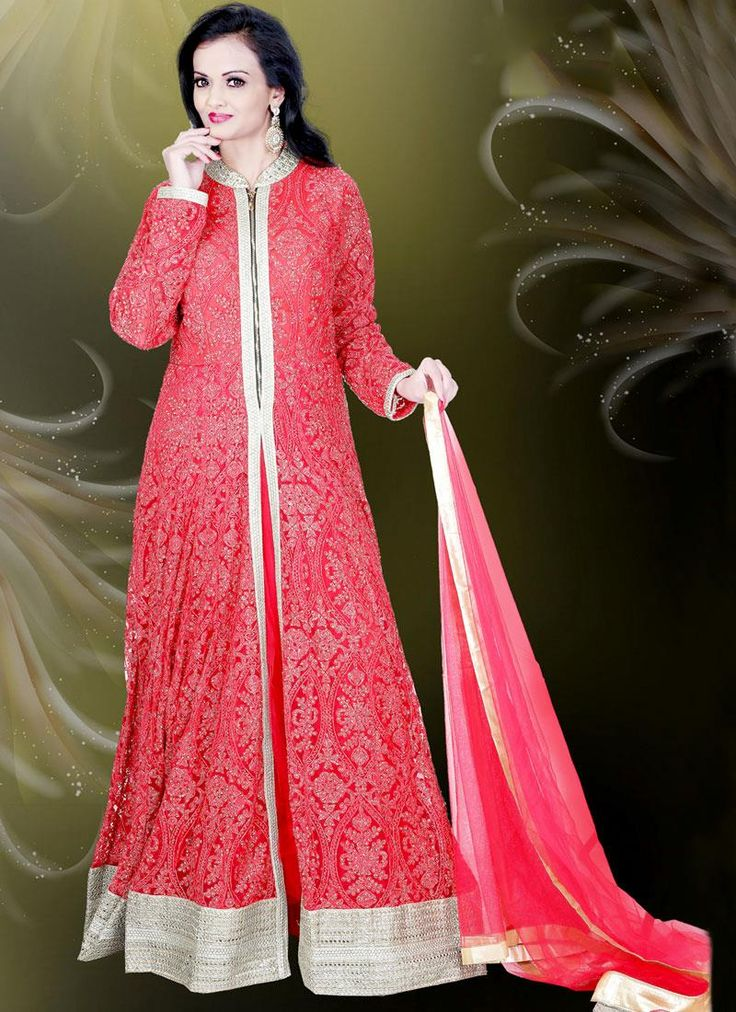 Shop online with latest designer gowns & salwar suits, finest collection of indian ethnic dresses and fabulous patterns and art work. Shop online this noble net resham and embroidered work readymade gown .