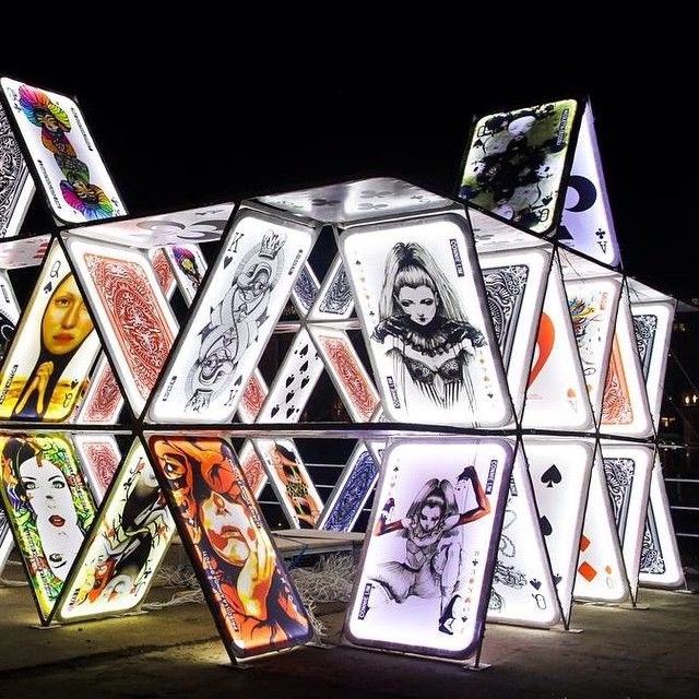 "A fast favourite, the ""House of Cards"" installation outside Central Station at the Amsterdam Light Festival. #lighting #festival #amsterdam"