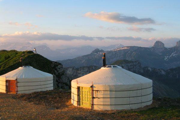 Yurts on the top of Rochers de Naye, Switzerland - more pictures in a portrait on http://tiny-houses.de/uebernachten-in-jurten-schweiz/