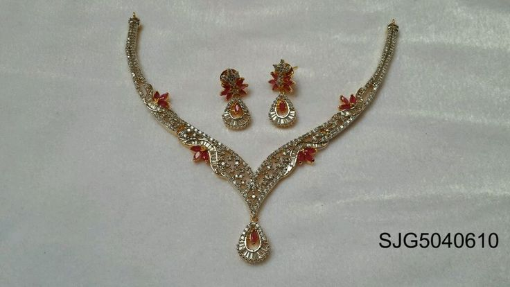 Necklace Set with ruby and emerald with earing Sparsh