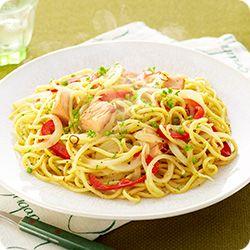 蒸し焼きコンそば ペペロンチーノ風 (レシピNo.2515) 簡単レシピ♪お昼にいかがでしょうか?