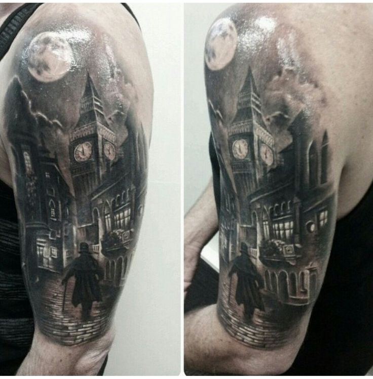 Amazing London street tattoo. I like the jack the ripper feel to the tattoo. Artist unknown