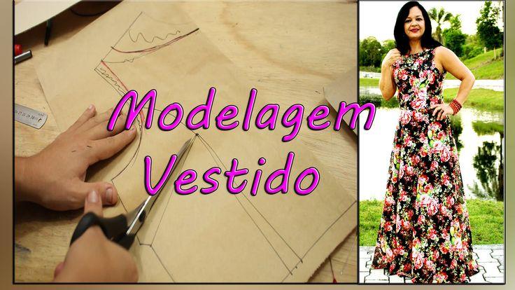 Como Fazer Molde: Vestido Longo Godê - Decote canoa e Recorte Princesa #...
