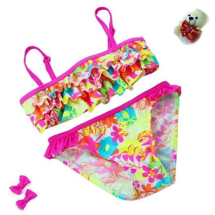 2016 New summer European and American Style Flowers Bikini Children's Swimwear Girls Split Bikini Kids Cake Layer Swimsuit -  http://mixre.com/2016-new-summer-european-and-american-style-flowers-bikini-childrens-swimwear-girls-split-bikini-kids-cake-layer-swimsuit/  #Two-PieceSuits