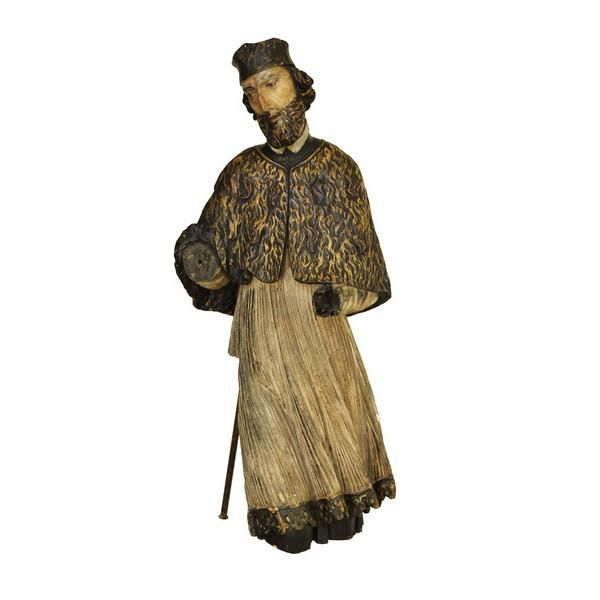 Lifesize limewood sculpture of Saint John of Nepomuk with polychrome decoration. Bohemia, early 17th century