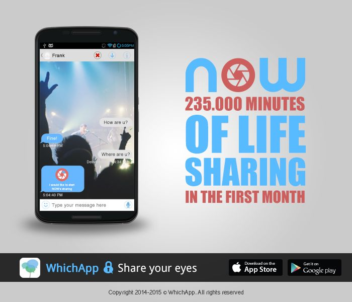 WhichApp #Now, 235.000 minutes of life sharing in the first month. #livestreaming #messaging #chat