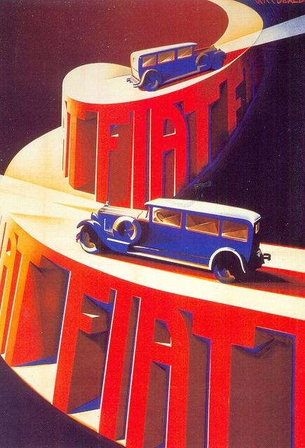 postcard - fiat - riccobaldi - fiat 520 sulla rampa del lingotto - 1928