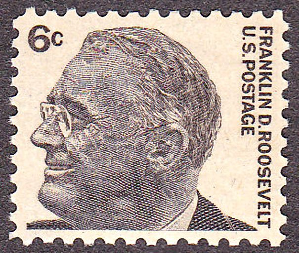 Franklin D. Roosevelt,1966 Issue-6c The 6c issue of 1966 was designed by Richard Lyon Clark and was modeled after a photograph of the Roosevelt taken with Winston Churchill during the signing of the Atlantic Charter. This gray brown 6-cent sheet stamp was issued on January 28, 1966, at the Post Office in Hyde Park, New York, the same town where the family home is located.