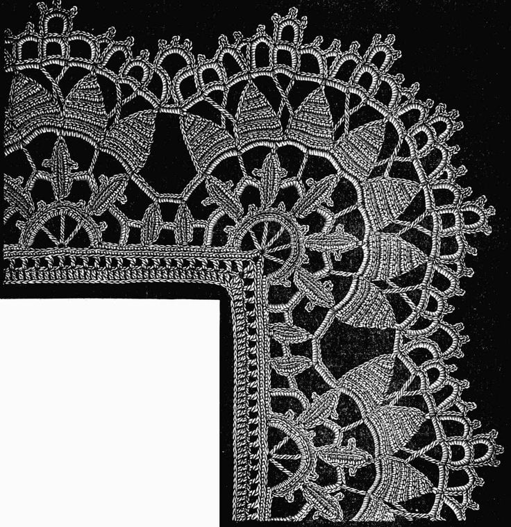 FIG. 472. LACE WITH CORNER, FORMED BY INCREASING ON THE OUTSIDE.