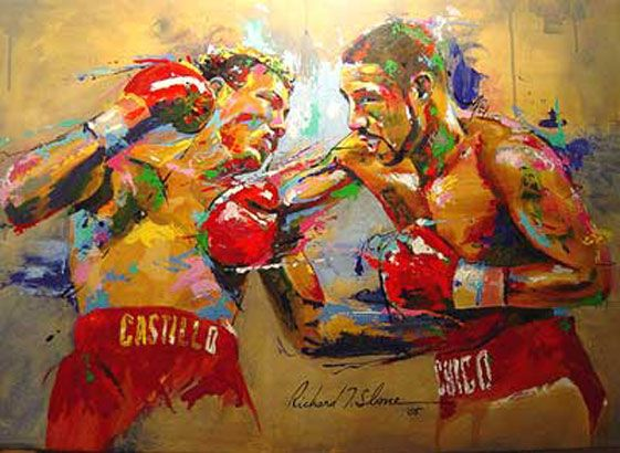Awesome painting of Diego Corrales vs. Jose Luis Castillo. Greatest boxing match of all-time...