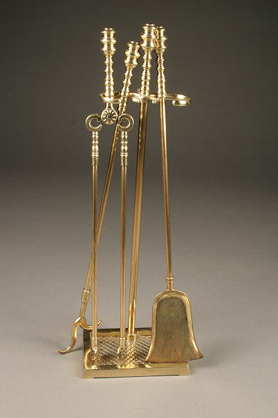 Nice English style heavy duty brass fireplace tool set. Circa 1950. #antique  # - 17 Best Images About Vintage Fireplace Accessories On Pinterest
