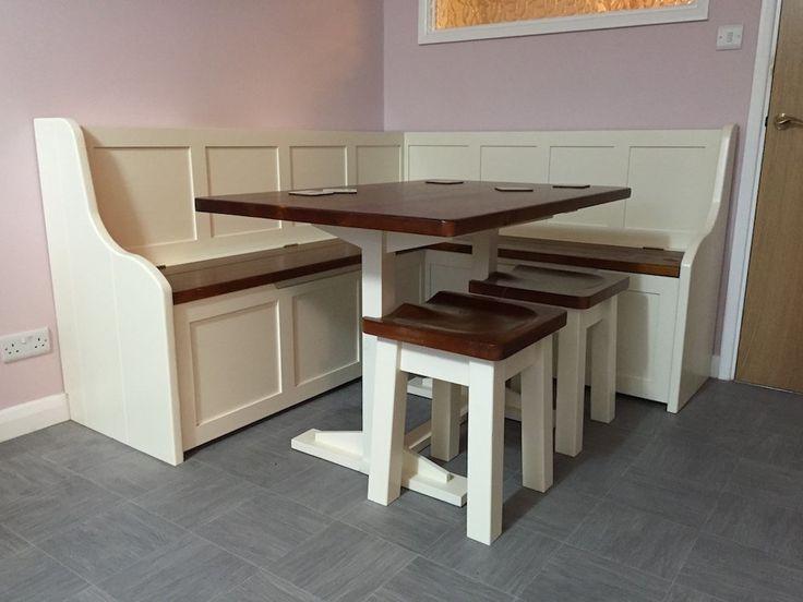 Corner Dining Set with 2 Stools