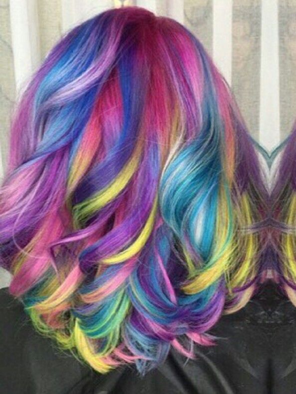 Purple neon streak rainbow dyed hair color @hrvahairartistry